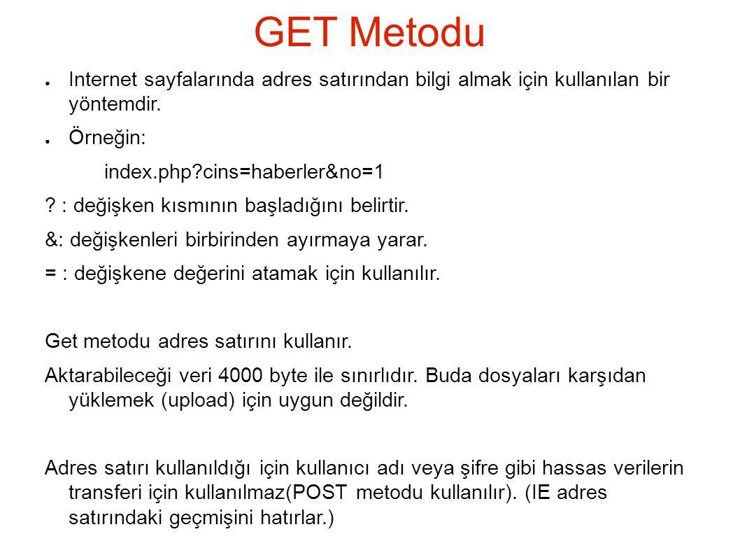 GET Metodu Internet sayfalarında adres satırından bilgi almak için kullanılan bir yöntemdir. Örneğin: