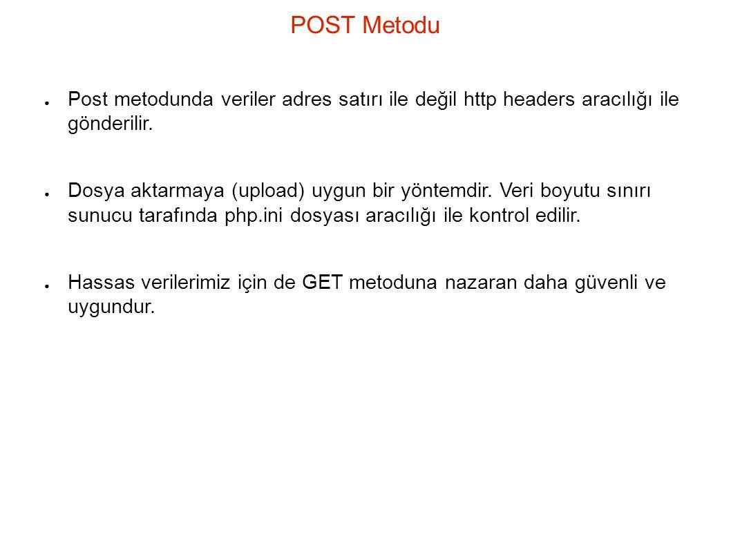 POST Metodu Post metodunda veriler adres satırı ile değil http headers aracılığı ile gönderilir.