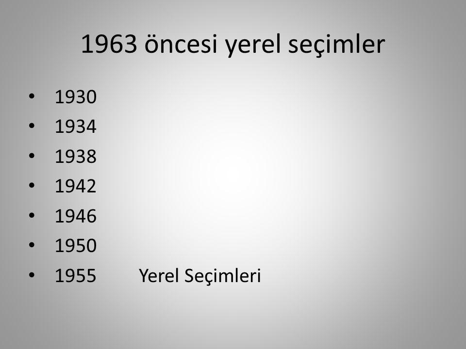 1963 öncesi yerel seçimler 1930 1934 1938 1942 1946 1950 1955 Yerel Seçimleri