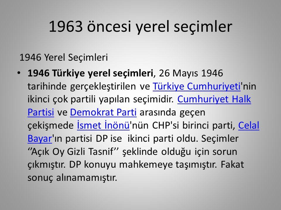 1963 öncesi yerel seçimler 1946 Yerel Seçimleri