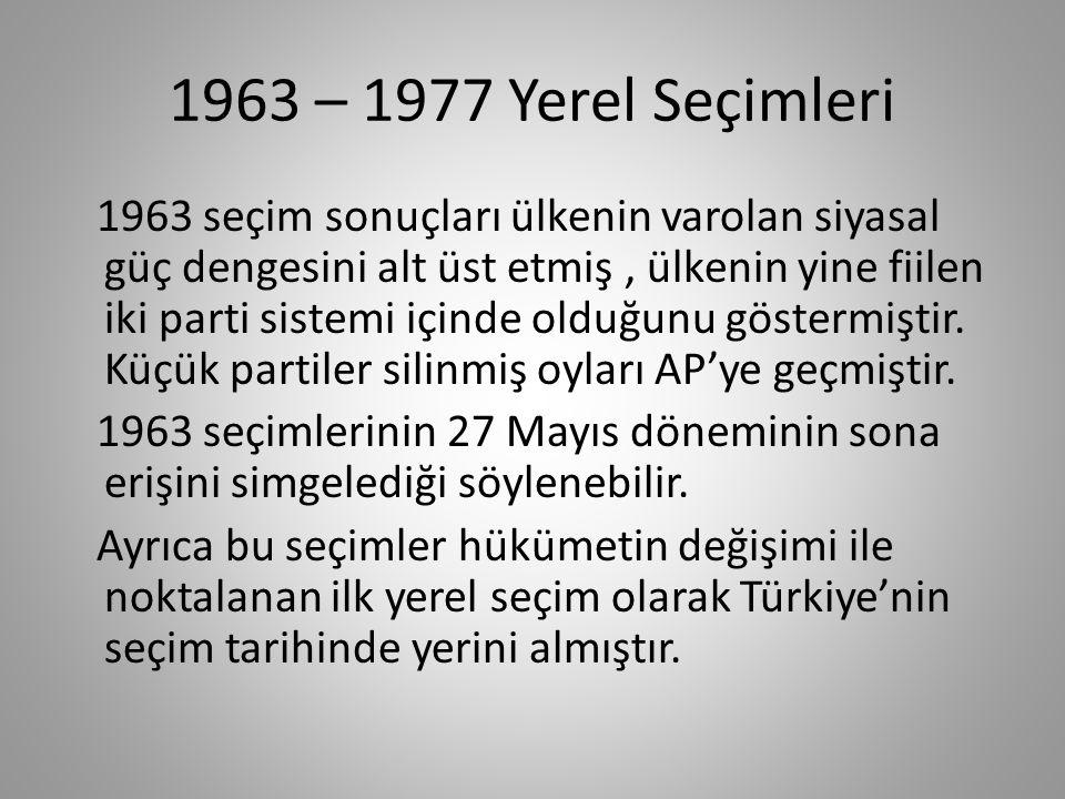 1963 – 1977 Yerel Seçimleri