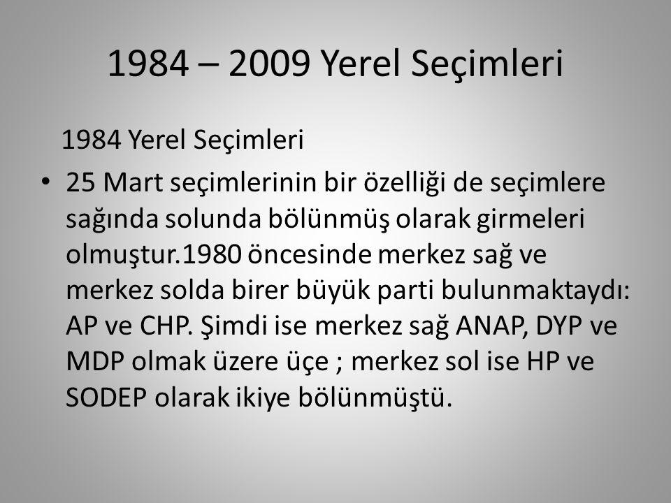 1984 – 2009 Yerel Seçimleri 1984 Yerel Seçimleri