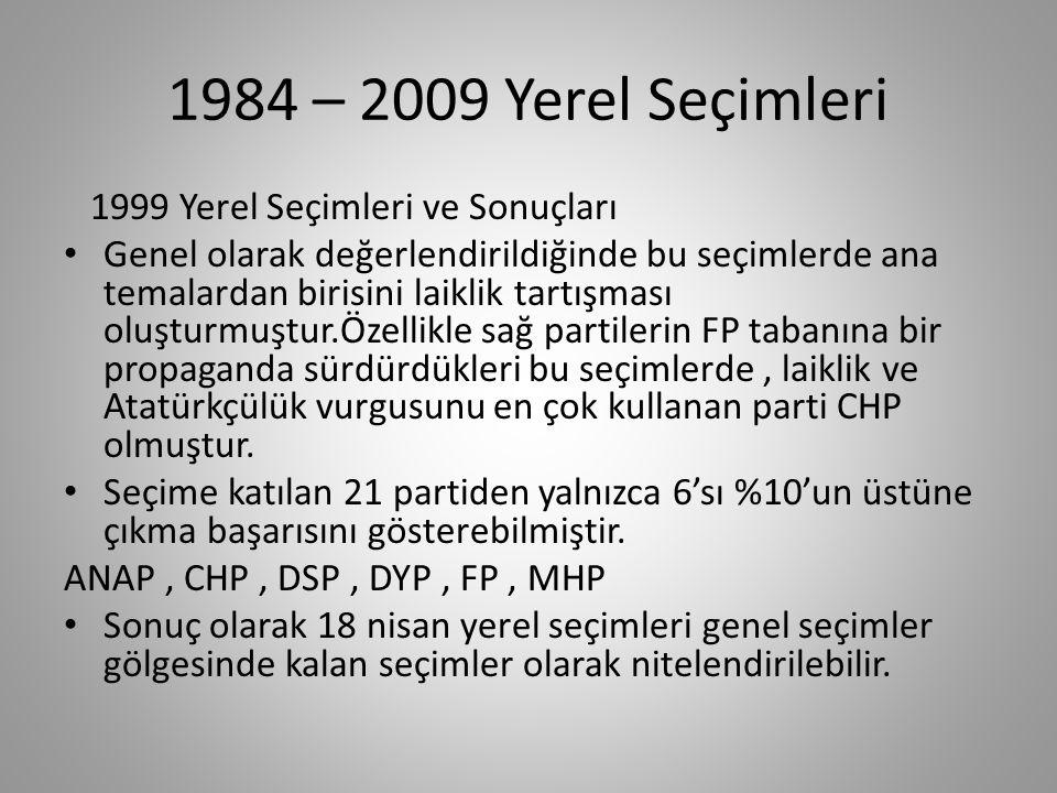 1984 – 2009 Yerel Seçimleri 1999 Yerel Seçimleri ve Sonuçları