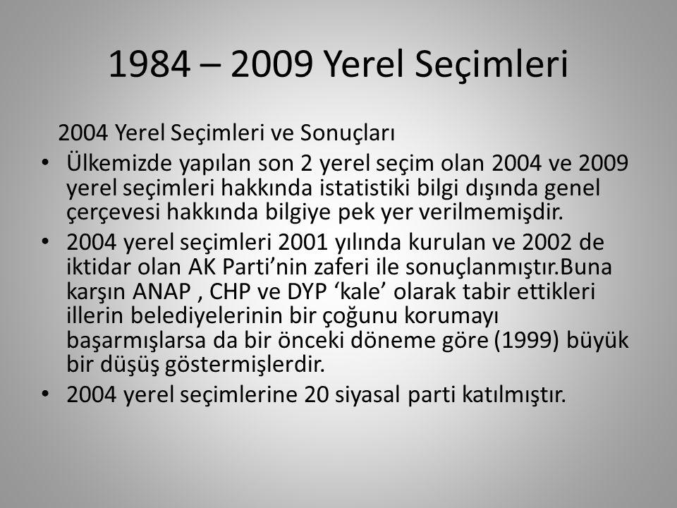 1984 – 2009 Yerel Seçimleri 2004 Yerel Seçimleri ve Sonuçları