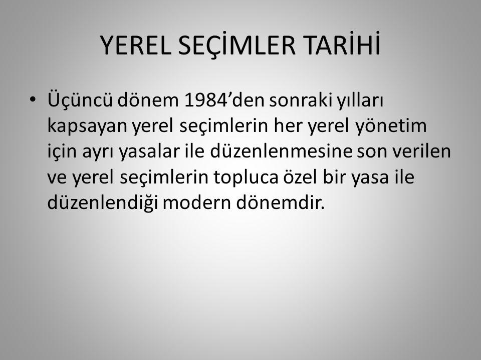 YEREL SEÇİMLER TARİHİ