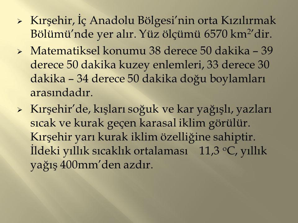 Kırşehir, İç Anadolu Bölgesi'nin orta Kızılırmak Bölümü'nde yer alır