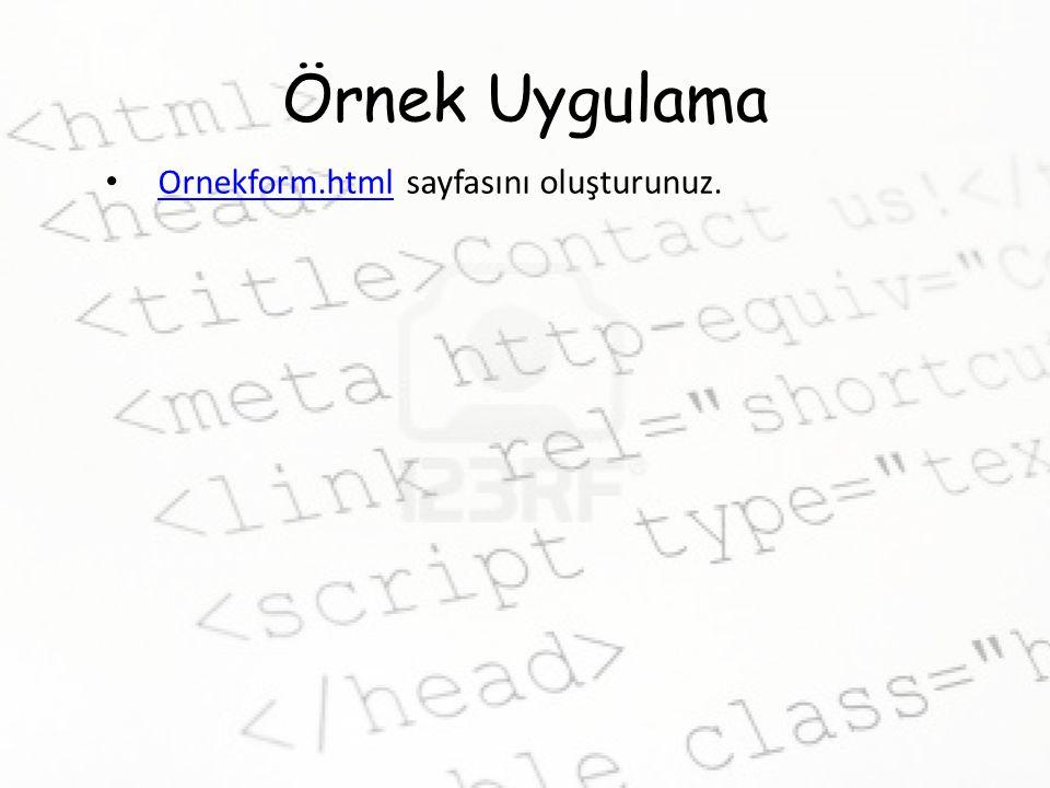 Ornekform.html sayfasını oluşturunuz.