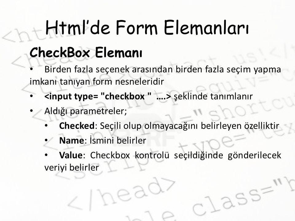 Html'de Form Elemanları