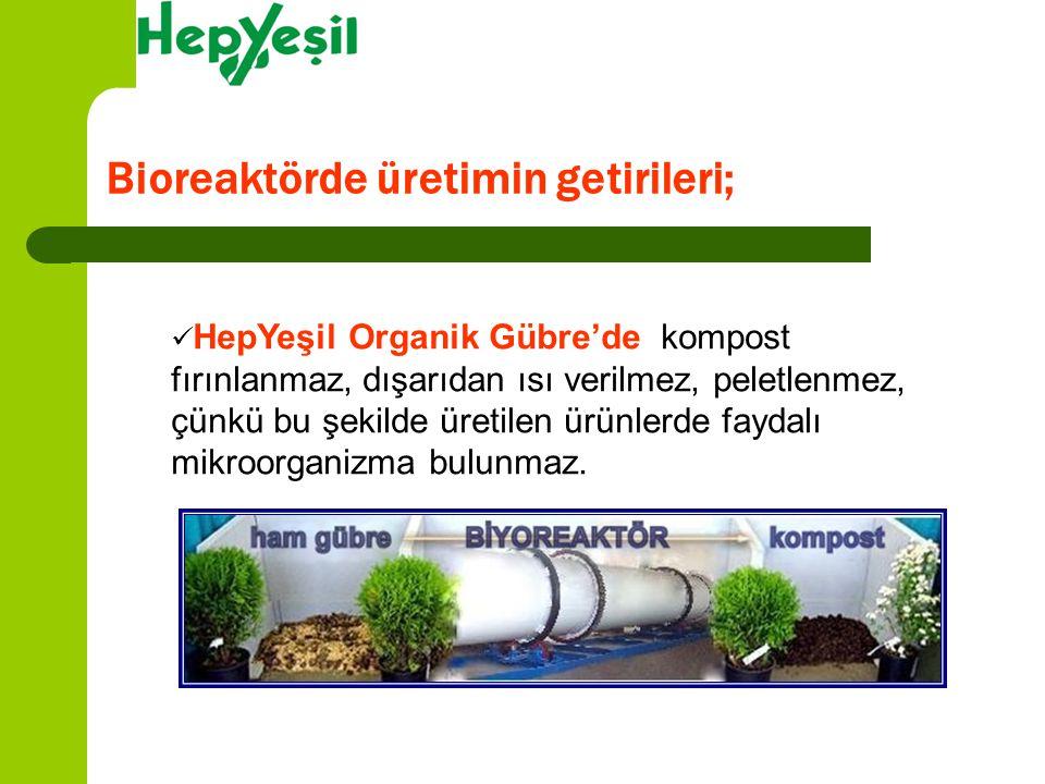Bioreaktörde üretimin getirileri;