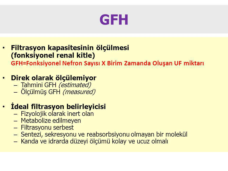 GFH Filtrasyon kapasitesinin ölçülmesi (fonksiyonel renal kitle)