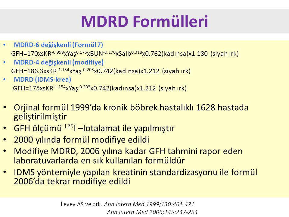 MDRD Formülleri MDRD-6 değişkenli (Formül 7) GFH=170xsKR-0.999xYaş0.176xBUN-0.170xSalb0.318x0.762(kadınsa)x1.180 (siyah ırk)