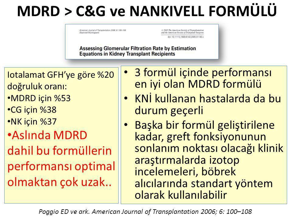 MDRD > C&G ve NANKIVELL FORMÜLÜ