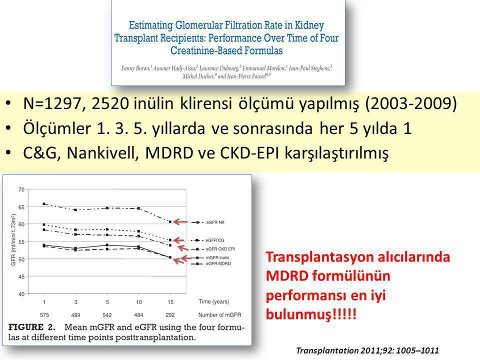 N=1297, 2520 inülin klirensi ölçümü yapılmış (2003-2009)