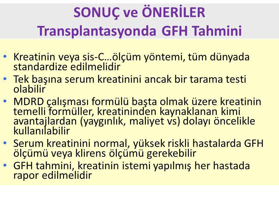 SONUÇ ve ÖNERİLER Transplantasyonda GFH Tahmini