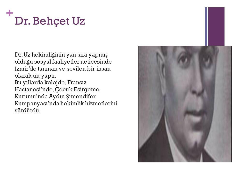 Dr. Behçet Uz Dr. Uz hekimliğinin yan sıra yapmış olduğu sosyal faaliyetler neticesinde İzmir'de tanınan ve sevilen bir insan olarak ün yaptı.