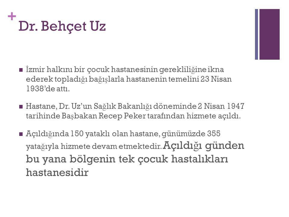 Dr. Behçet Uz İzmir halkını bir çocuk hastanesinin gerekliliğine ikna ederek topladığı bağışlarla hastanenin temelini 23 Nisan 1938'de attı.