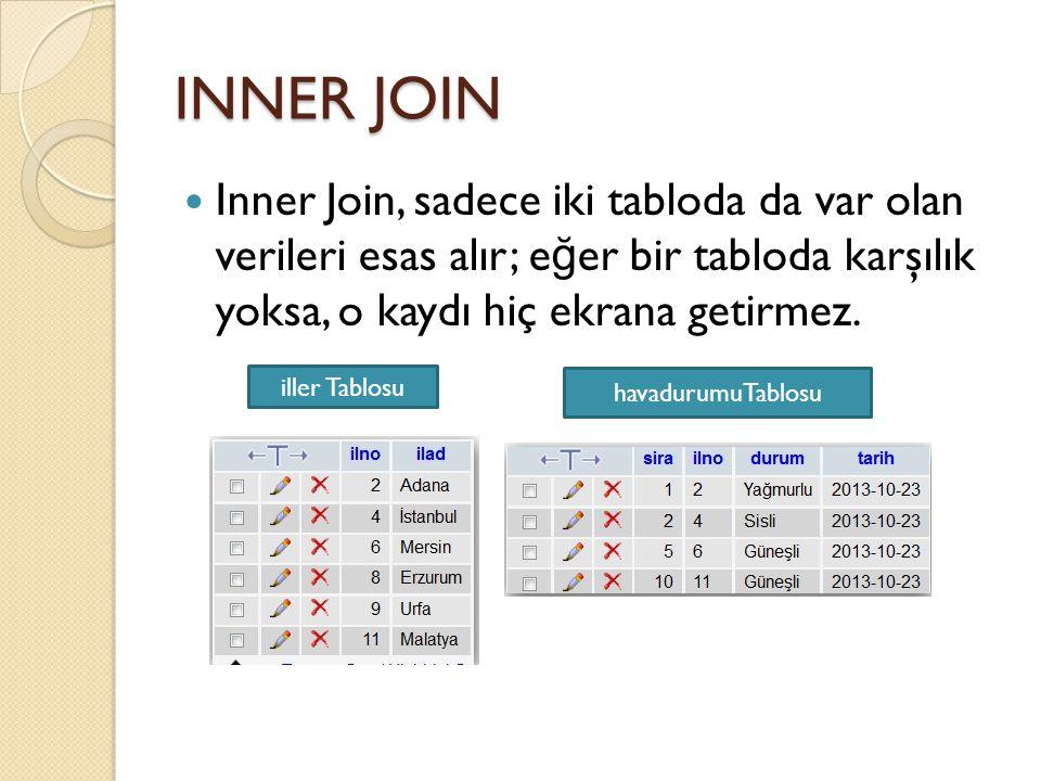 INNER JOIN Inner Join, sadece iki tabloda da var olan verileri esas alır; eğer bir tabloda karşılık yoksa, o kaydı hiç ekrana getirmez.