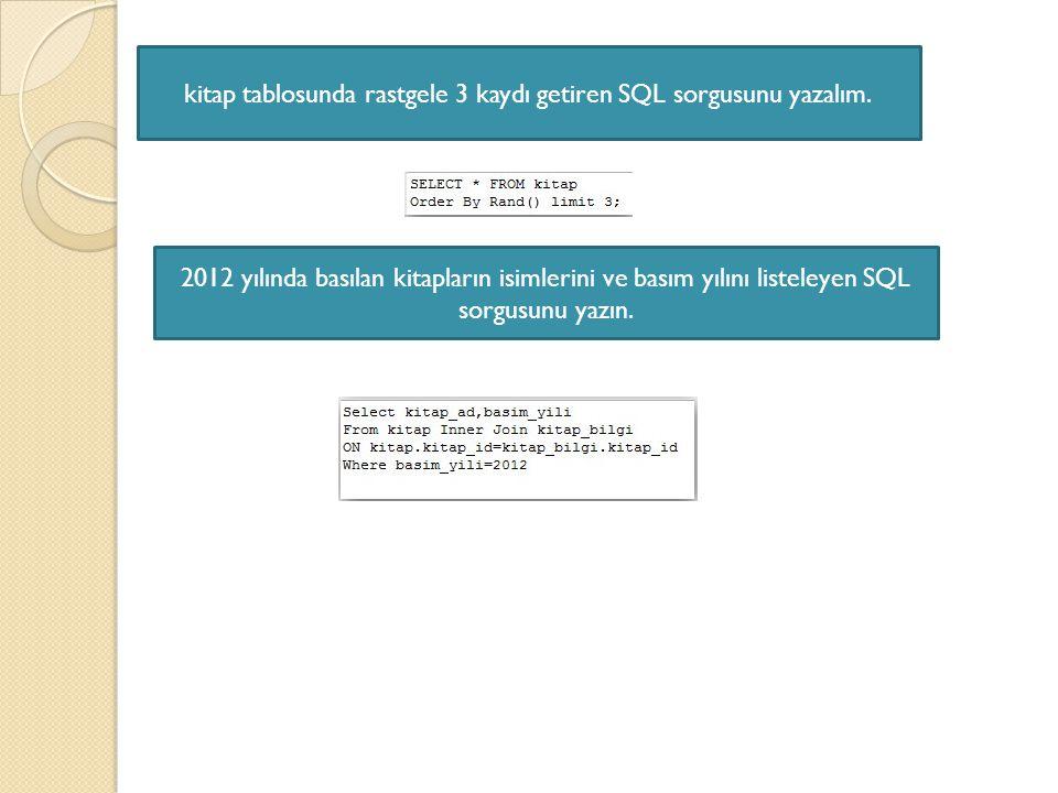 kitap tablosunda rastgele 3 kaydı getiren SQL sorgusunu yazalım.