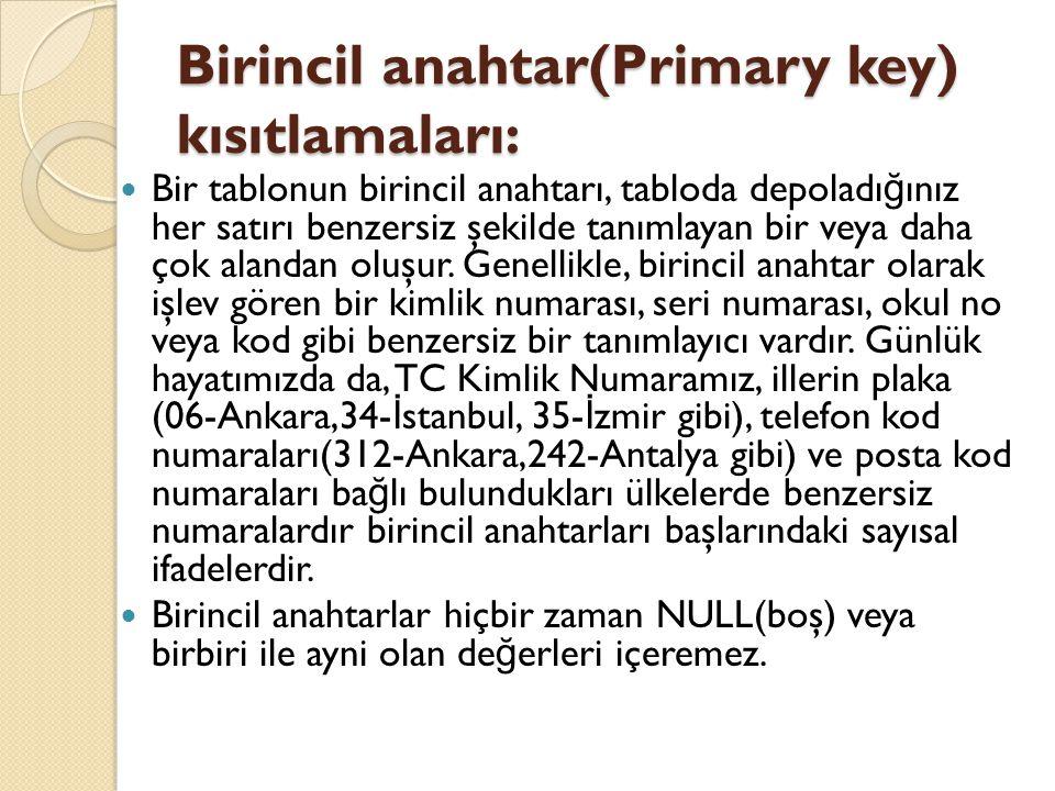 Birincil anahtar(Primary key) kısıtlamaları: