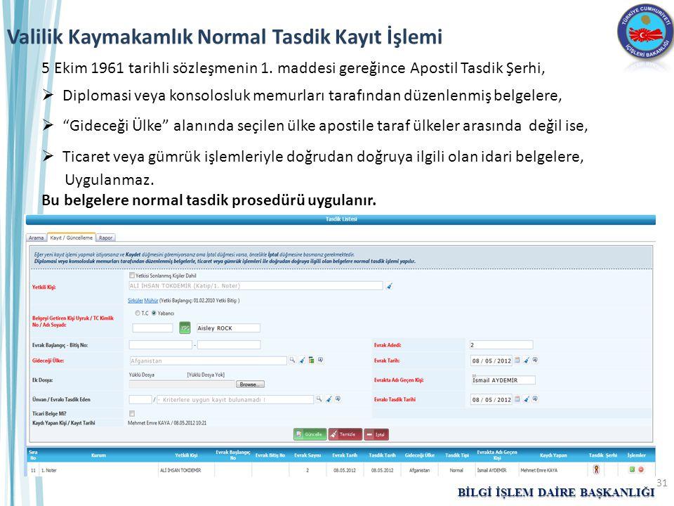 Valilik Kaymakamlık Normal Tasdik Kayıt İşlemi