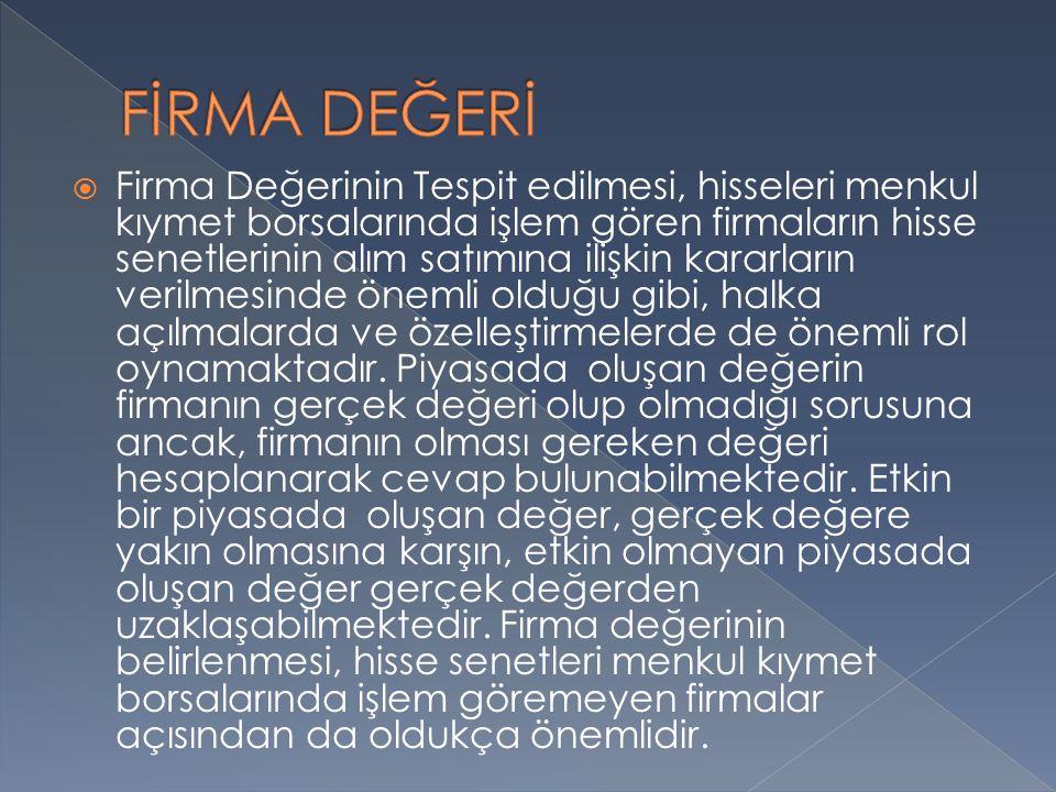 FİRMA DEĞERİ