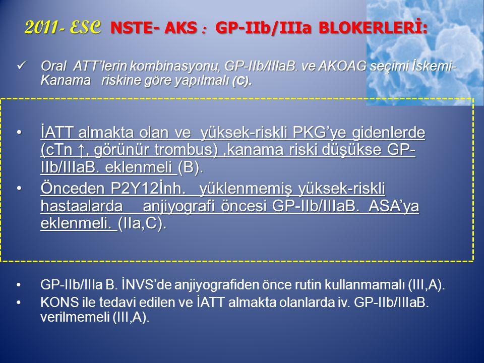 2011- ESC NSTE- AKS : GP-IIb/IIIa BLOKERLERİ: