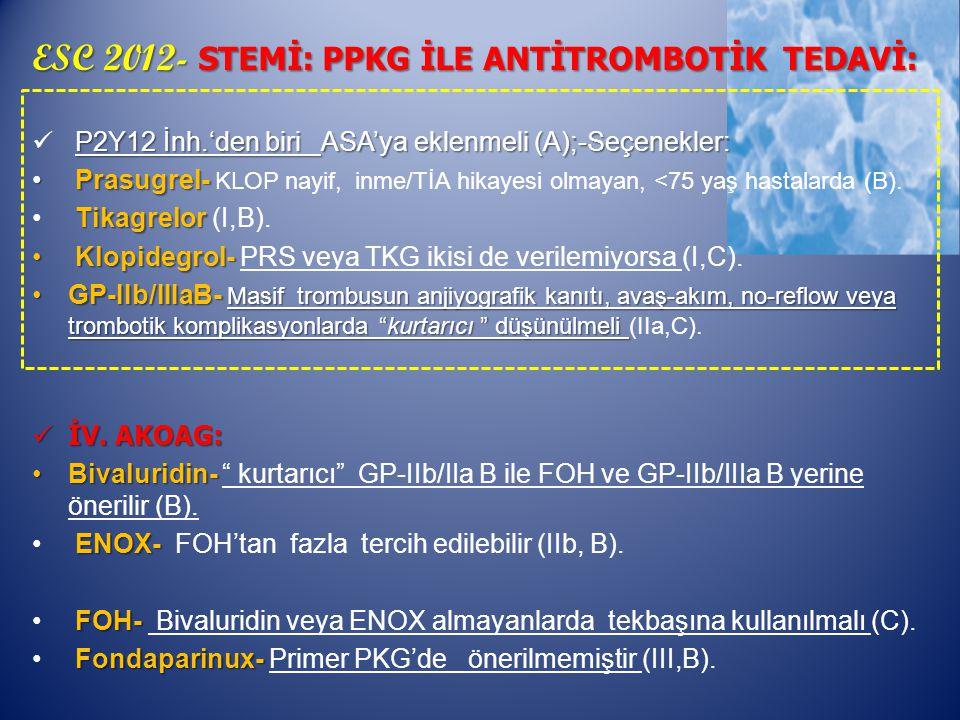 ESC 2012- STEMİ: PPKG İLE ANTİTROMBOTİK TEDAVİ: