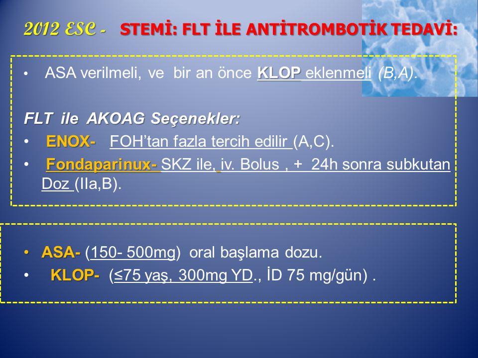 2012 ESC - STEMİ: FLT İLE ANTİTROMBOTİK TEDAVİ: