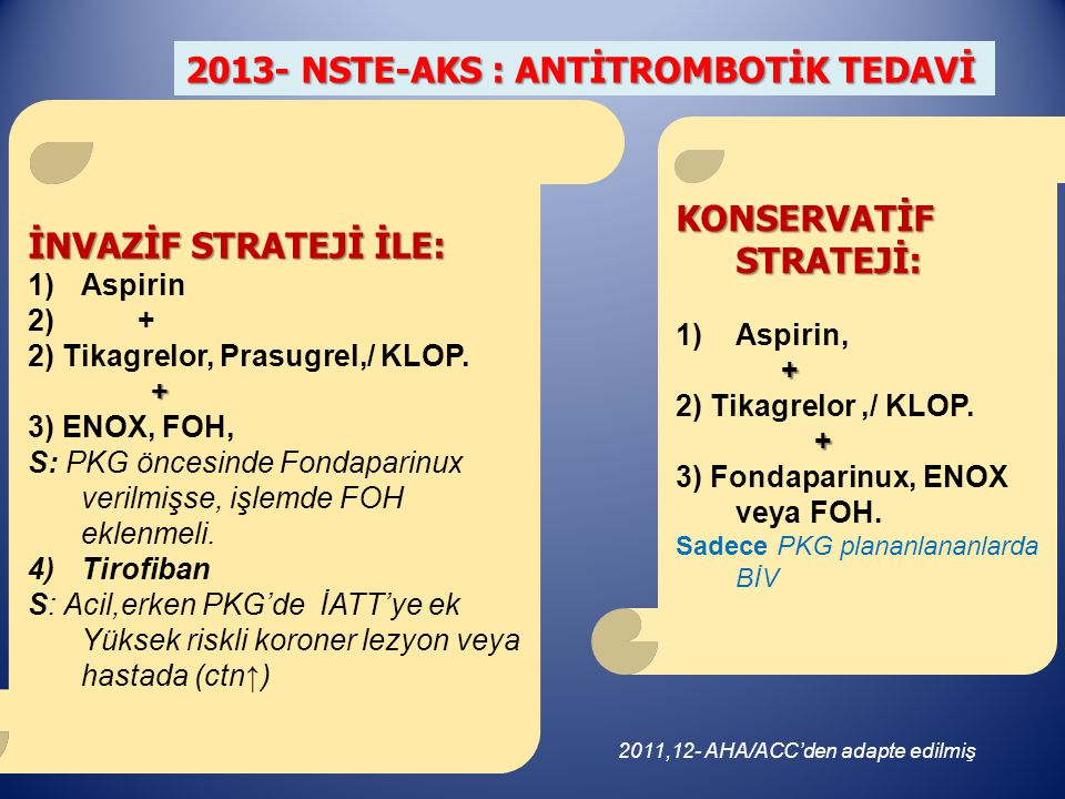 2013- NSTE-AKS : ANTİTROMBOTİK TEDAVİ