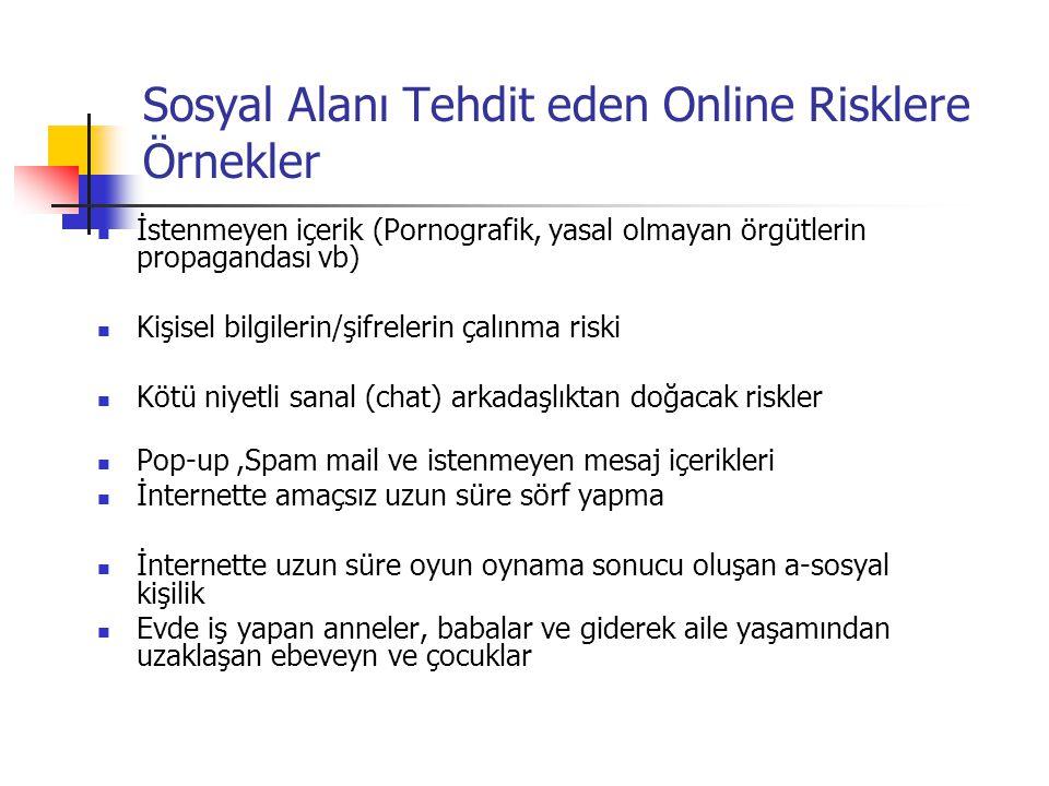 Sosyal Alanı Tehdit eden Online Risklere Örnekler