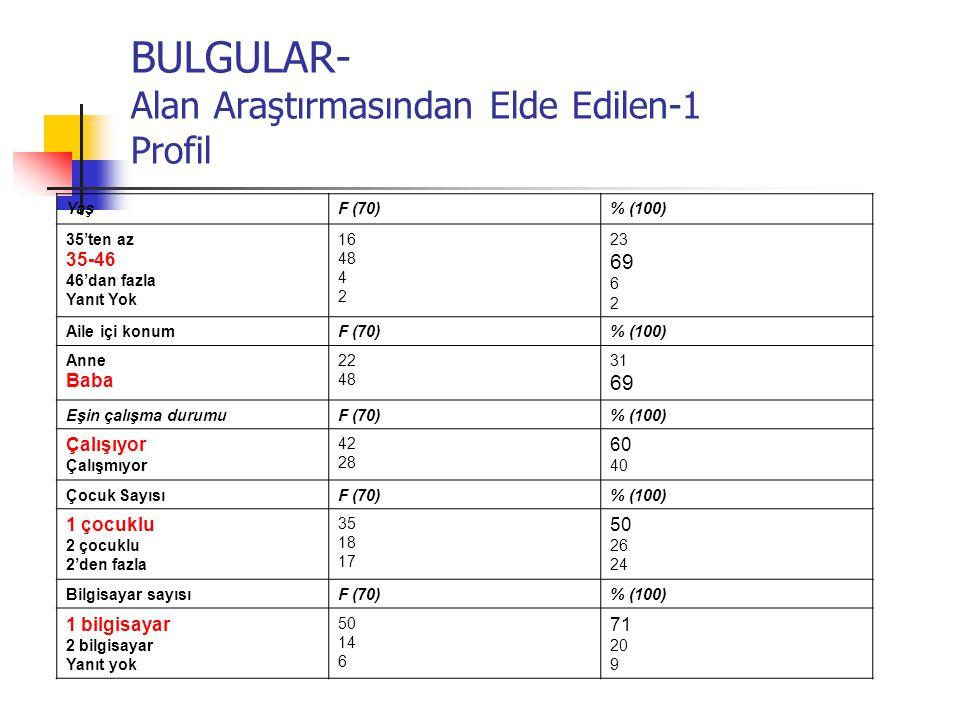 BULGULAR- Alan Araştırmasından Elde Edilen-1 Profil