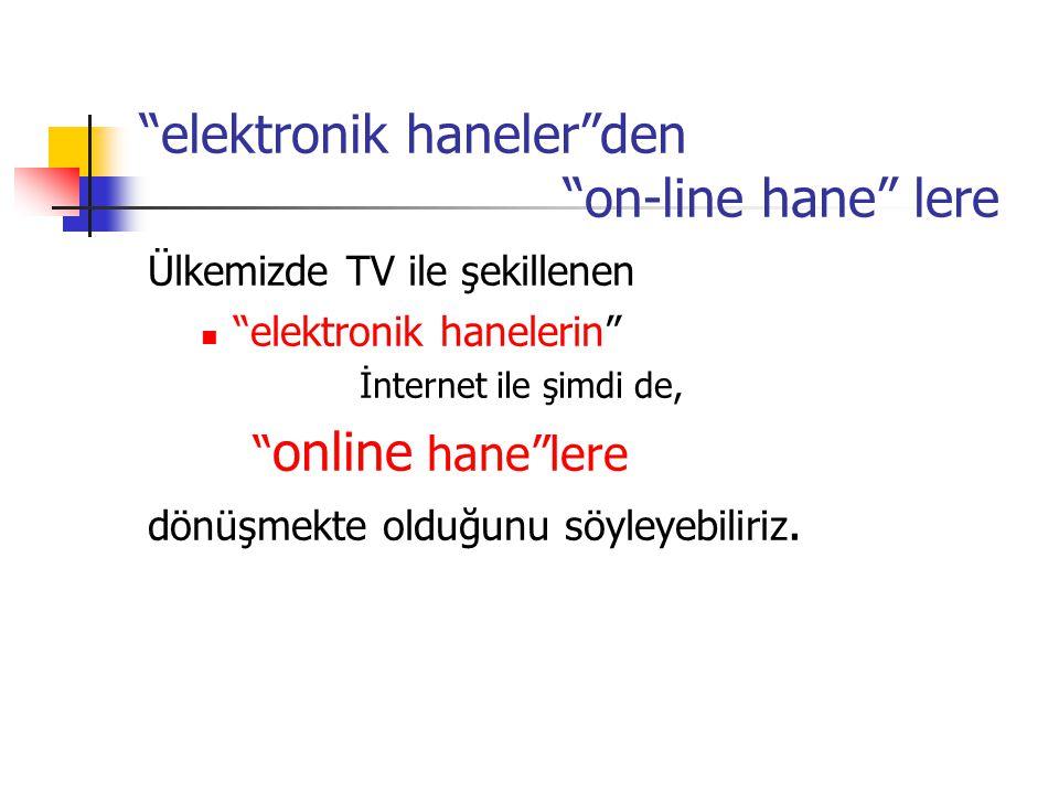 elektronik haneler den on-line hane lere