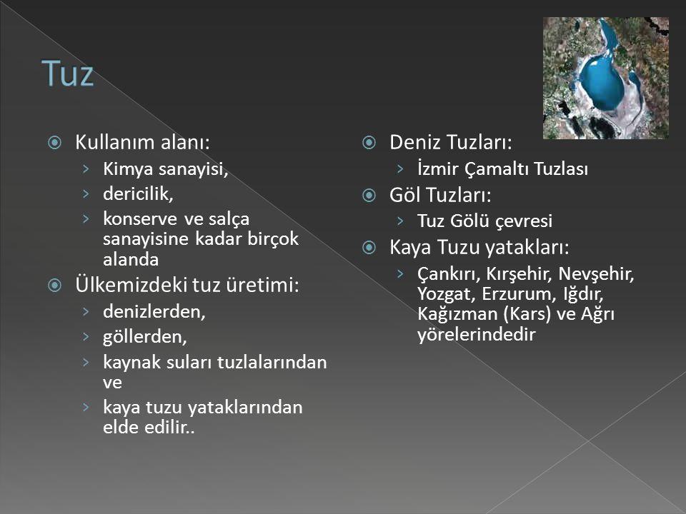 Tuz Kullanım alanı: Ülkemizdeki tuz üretimi: Deniz Tuzları: