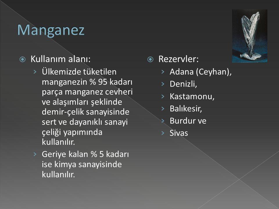 Manganez Kullanım alanı: Rezervler: