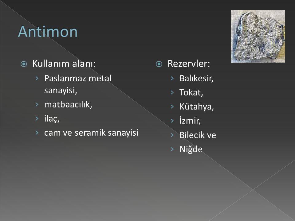 Antimon Kullanım alanı: Rezervler: Paslanmaz metal sanayisi,