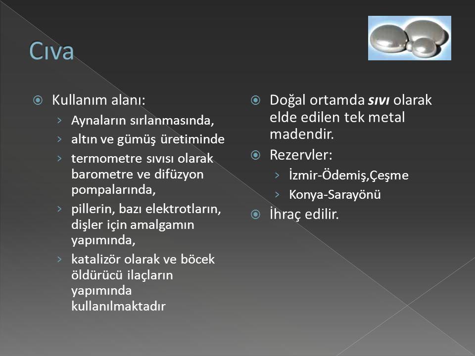 Cıva Kullanım alanı: Aynaların sırlanmasında, altın ve gümüş üretiminde. termometre sıvısı olarak barometre ve difüzyon pompalarında,