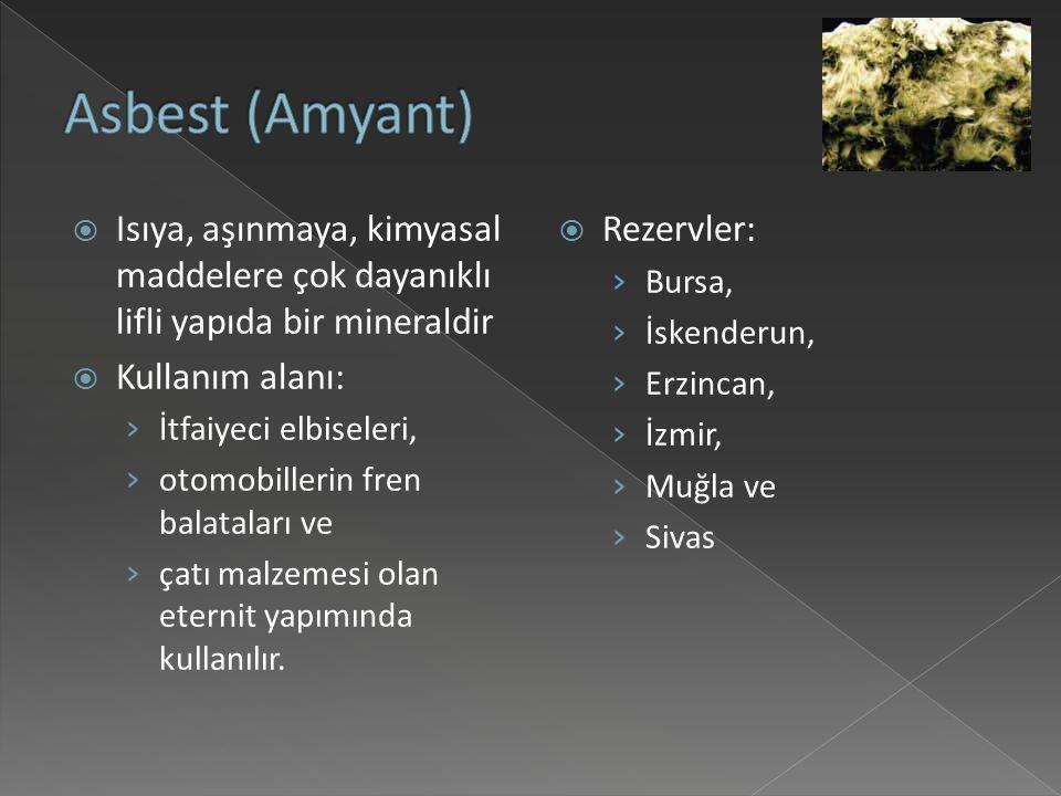 Asbest (Amyant) Isıya, aşınmaya, kimyasal maddelere çok dayanıklı lifli yapıda bir mineraldir. Kullanım alanı: