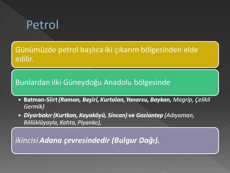 Petrol Günümüzde petrol başlıca iki çıkarım bölgesinden elde edilir.
