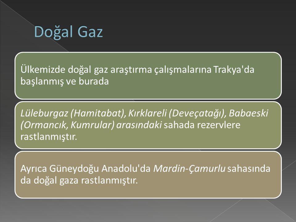 Doğal Gaz Ülkemizde doğal gaz araştırma çalışmalarına Trakya da başlanmış ve burada.