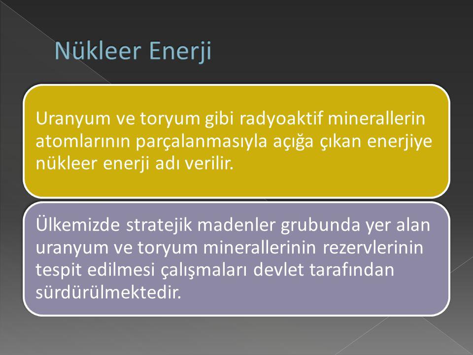 Nükleer Enerji Uranyum ve toryum gibi radyoaktif minerallerin atomlarının parçalanmasıyla açığa çıkan enerjiye nükleer enerji adı verilir.