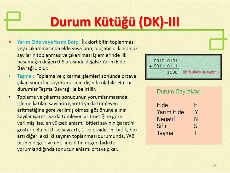 Durum Kütüğü (DK)-III Durum Bayrakları Elde E Yarım Elde Y Negatif N