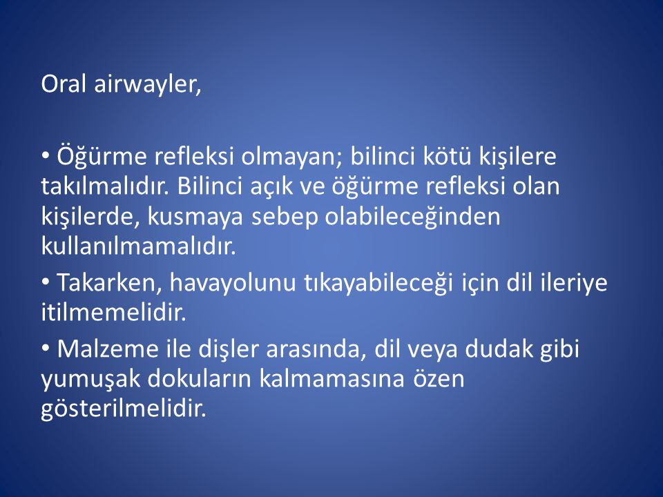 Oral airwayler,