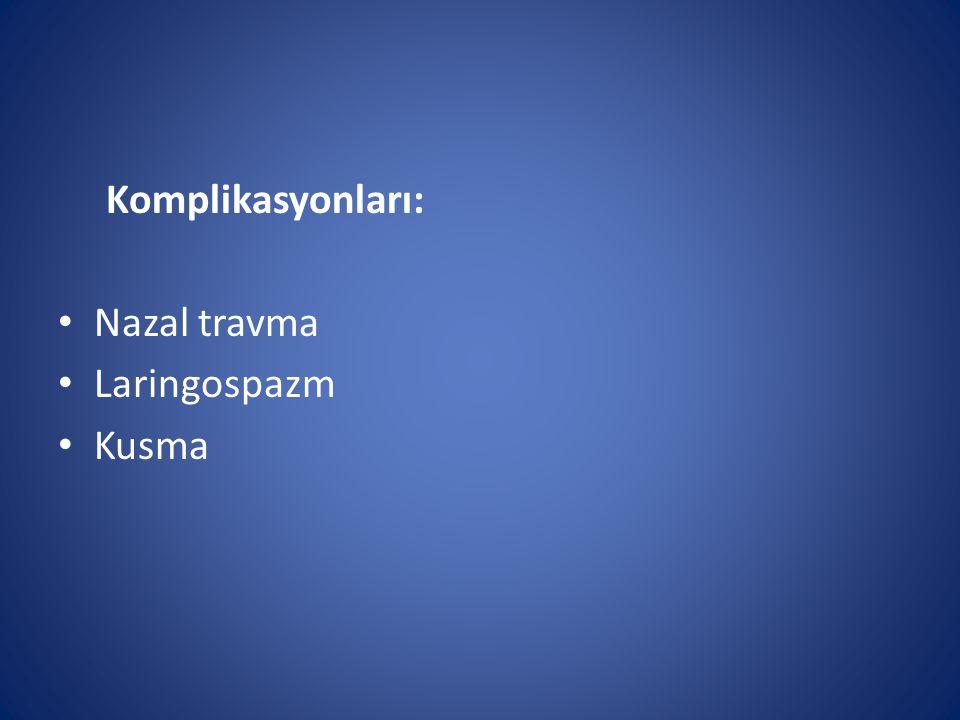 Komplikasyonları: Nazal travma Laringospazm Kusma