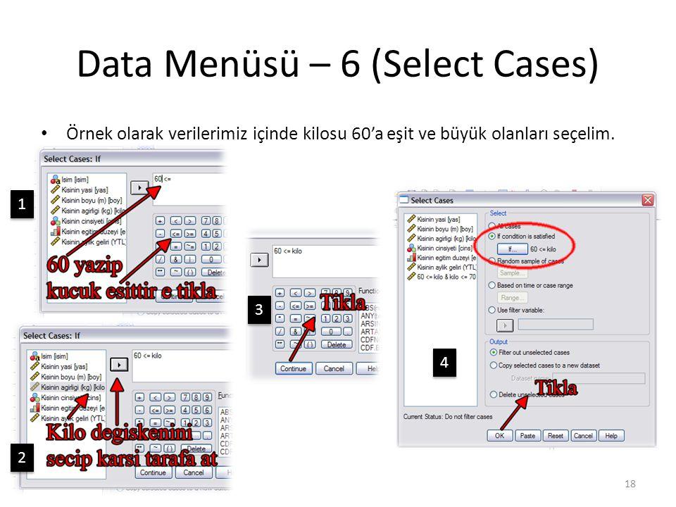 Data Menüsü – 7 (Select Cases)
