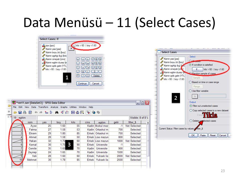 Data Menüsü – 12 (Select Cases)