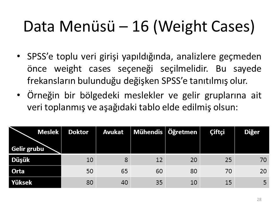 Data Menüsü – 17 (Weight Cases)