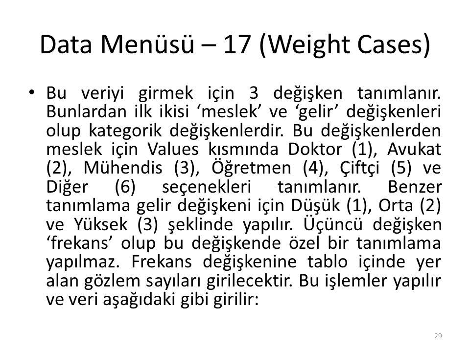 Data Menüsü – 18 (Weight Cases)