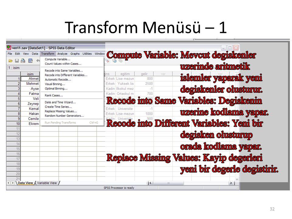 Transform Menüsü – 2 (Comp. Var.)