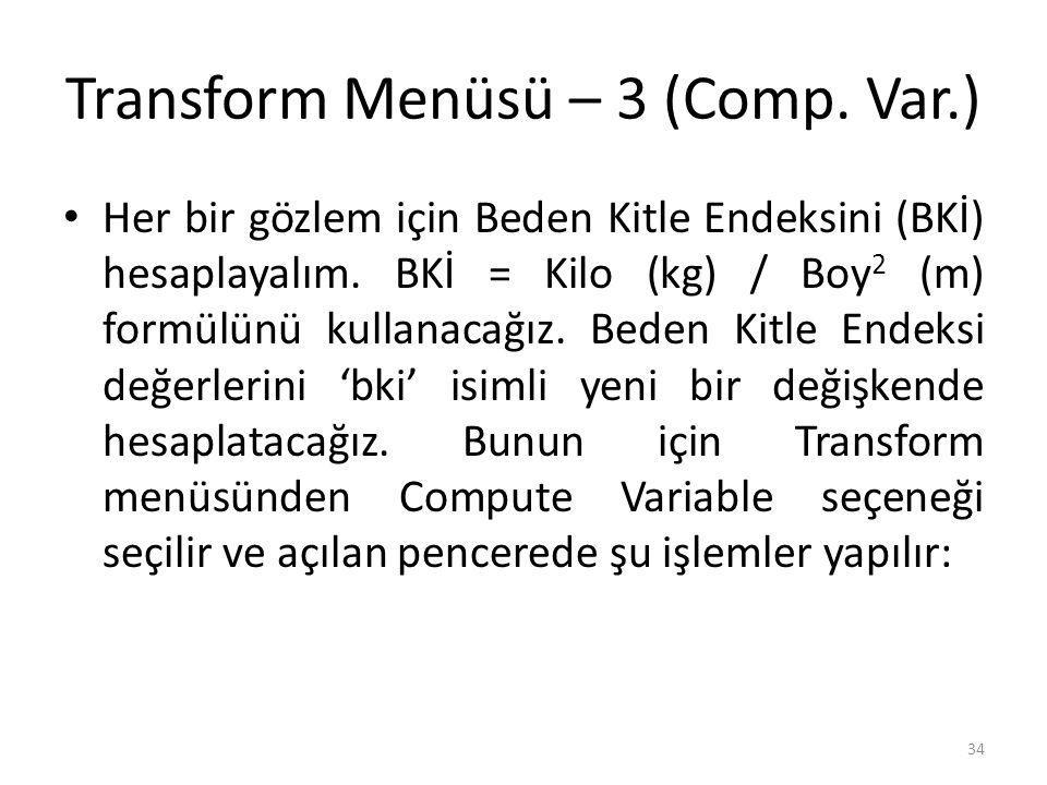 Transform Menüsü – 4 (Comp. Var.)