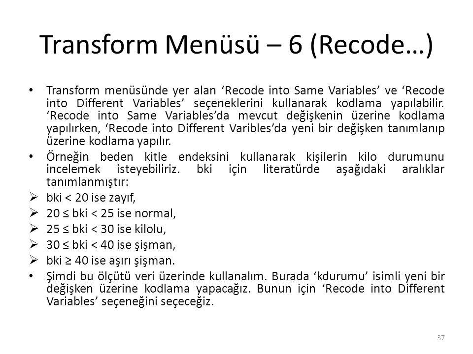 Transform Menüsü – 7 (Recode…)